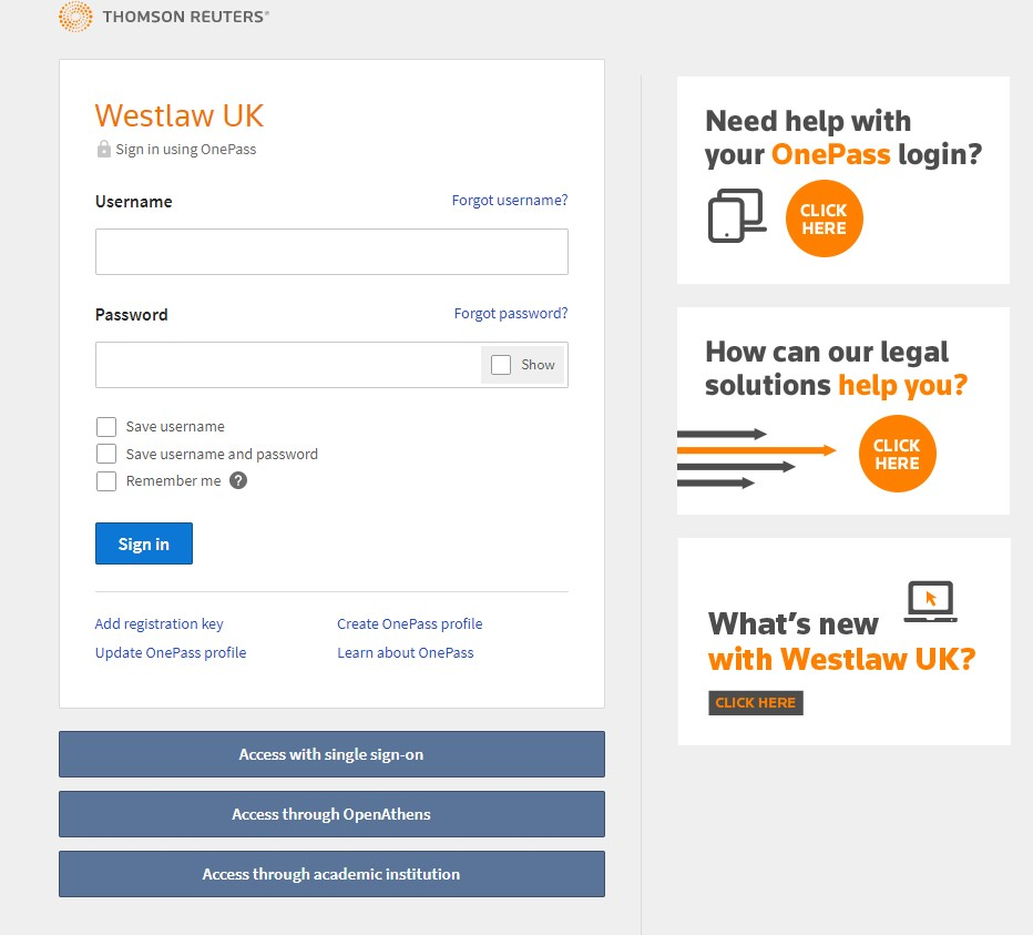 Westlaw UK OnePass Sign in page